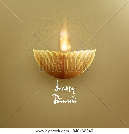 Happy Diwali Indian Deepavali Hindu Festival Of Lights. Paper Graphic Of Oil Lamp. Eps 10