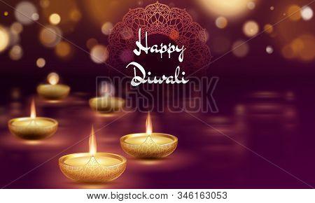 Happy Diwali Diya Oil Lamp Template. Indian Deepavali Hindu Festival Of Lights. Eps 10