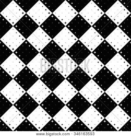 Monochrome Star Pattern Background - Abstract Black And White Vector Graphic Design From Curved Star