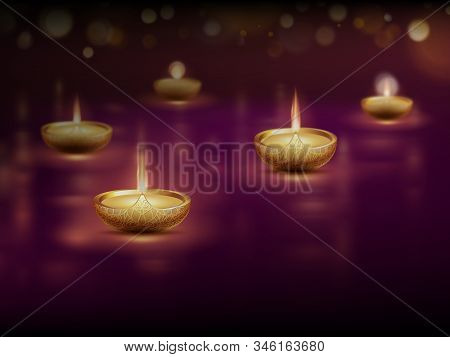 Happy Diwali, Poster Template With Burning Diya Oil Lamps Candles. Eps 10