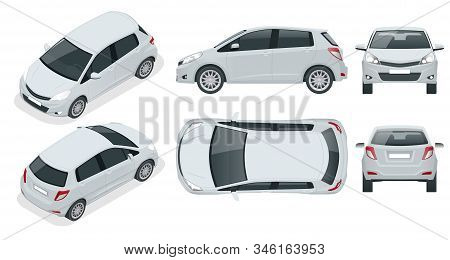 Subcompact Hatchback Car. Compact Hybrid Vehicle. Eco-friendly Hi-tech Auto. Easy Color Change. Temp