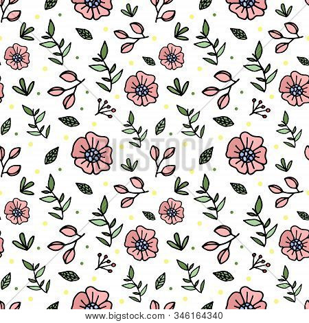 Seamless Pattern With Rustic Style Flowers. Pink Flowers, Green Leaves. Creative Spring Floral Textu