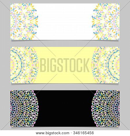 Geometrical Horizontal Gemstone Mandala Banner Set - Abstract Colorful Vector Graphic Designs