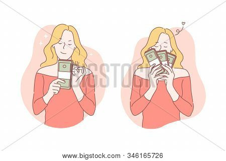 Business, Success, Moneymaker, Profit Set Concept. Young Successful Businesswoman Made Good Deal And