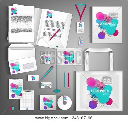 White Corporate Identity Design Template With Multi-colored Shapes Of Fluid And Geometry.