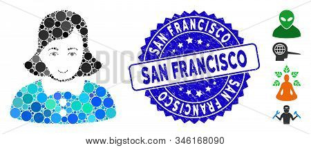Mosaic Woman Icon And Grunge Stamp Watermark With San Francisco Text. Mosaic Vector Is Formed With W