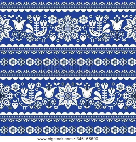 Scandinavian Seamless Vector Pattern With Flowers And Birds, Nordic Olk Art Repetitive White Ornamen