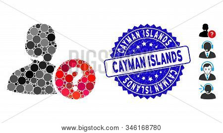Mosaic Online Support Icon And Rubber Stamp Watermark With Cayman Islands Phrase. Mosaic Vector Is C