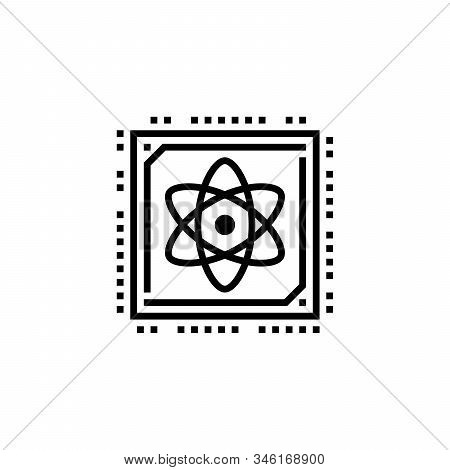 Quantum Computer Semiconductor Chip Flat Vector Icon For Technology Apps And Websites. Stock Vector