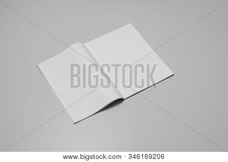 Mock-up Magazine, Newspaper Or Catalog On Gray Background. Blank Page Or Notepad On Paper Backdrop.