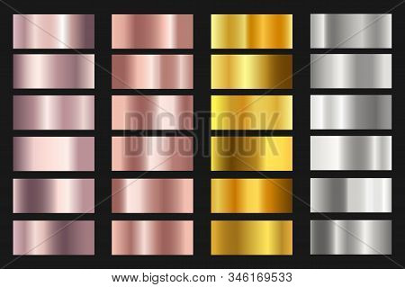 Set Of Gold, Silver, Bronze And Rose Gold Foil Texture Backgrounds For Chrome Border, Frame, Ribbon,