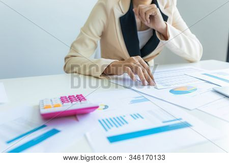 Business Man Calculate About Cost And Doing Finance At Office, Finance Managers Task, Concept Busine