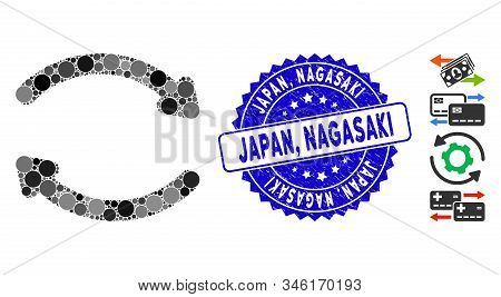 Mosaic Refresh Icon And Distressed Stamp Watermark With Japan, Nagasaki Caption. Mosaic Vector Is Co