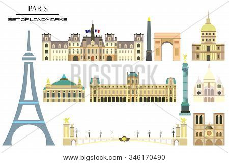 Vector Set Of Main Landmarks Of Paris, France. Vector Colorful Illustration Isolated On White Backgr