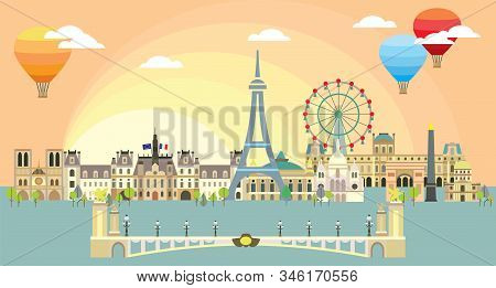 Paris City Skyline At Sunset. Colorful Isolated Vector Illustration. Vector Illustration Of Main Lan