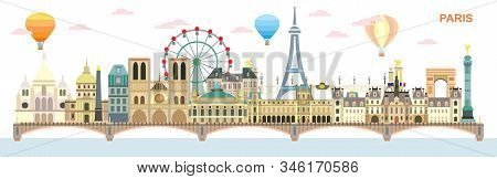 Paris City Skyline At Day. Colorful Isolated Vector Illustration. Vector Illustration Of Main Landma
