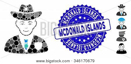 Collage Sheriff Icon And Grunge Stamp Seal With Mcdonald Islands Caption. Mosaic Vector Is Formed Fr