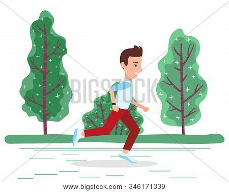 Man Character In Sportswear Running Near Green Trees In Park. Summer Activity And Workout Of Sporty