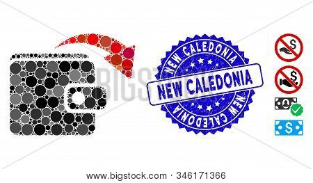 Mosaic Spend Money Icon And Grunge Stamp Seal With New Caledonia Text. Mosaic Vector Is Designed Fro