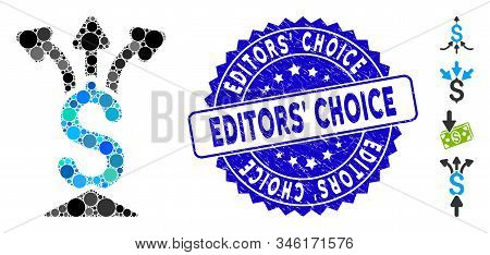 Mosaic Financial Aggregator Icon And Rubber Stamp Seal With Editors Choice Text. Mosaic Vector Is De