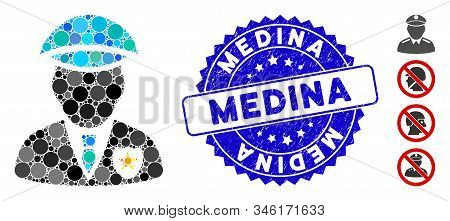 Mosaic Sheriff Icon And Grunge Stamp Seal With Medina Phrase. Mosaic Vector Is Created From Sheriff