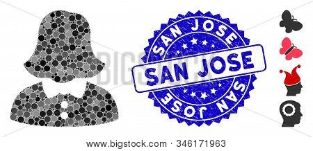 Collage Woman Icon And Grunge Stamp Seal With San Jose Phrase. Mosaic Vector Is Designed With Woman