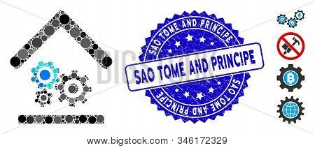 Mosaic Workshop Icon And Rubber Stamp Seal With Sao Tome And Principe Phrase. Mosaic Vector Is Compo
