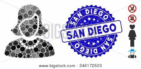Mosaic Woman Icon And Corroded Stamp Seal With San Diego Caption. Mosaic Vector Is Designed From Wom