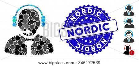 Mosaic Support Manager Icon And Corroded Stamp Watermark With Nordic Phrase. Mosaic Vector Is Formed