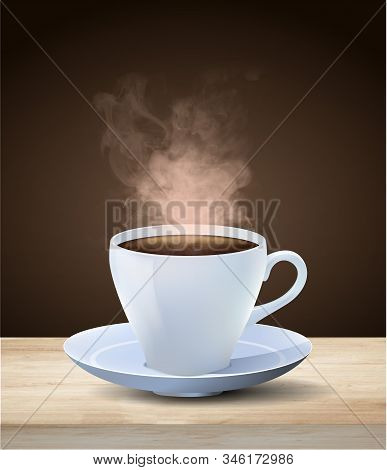 Hot Steaming Cup Of Espresso Coffee In A Generic White Cup And Saucer On A Wooden Table Over A Dark