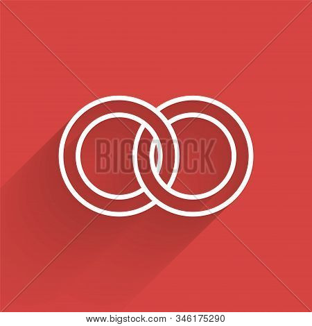 White Line Wedding Rings Icon Isolated With Long Shadow. Bride And Groom Jewelery Sign. Marriage Ico