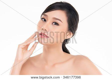 Portrait Beautiful Young Asian Woman Clean Fresh Bare Skin Concept. Asian Girl Beauty Face Skincare
