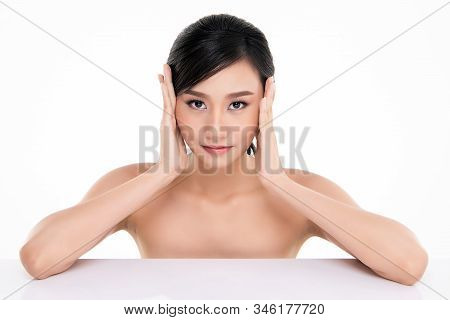 Portrait Beautiful Young Asian Woman Clean Fresh Bare Skin Concept. Asian Girl Beauty Face Skincare
