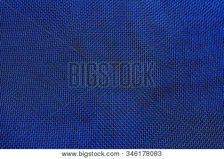Metal Thin Mesh Background Texture Color Natural Blue Close-up