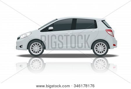 Subcompact Hatchback Car. Compact Hybrid Vehicle. Eco-friendly Hi-tech Auto. Template Isolated On Wh
