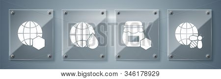 Set Honeycomb Map Of The World And Bee, Jar Of Honey, Honeycomb Map Of The World And Honeycomb Map O