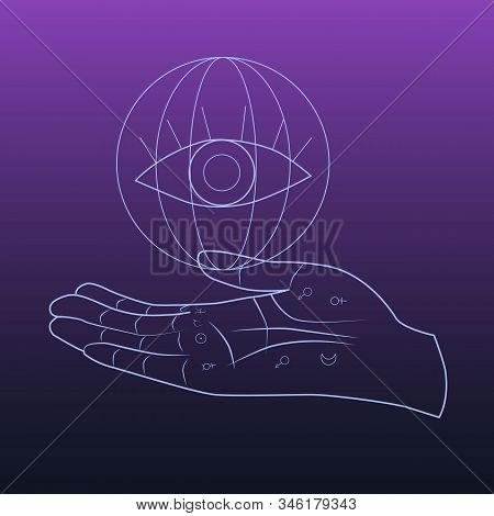 Hand With Lines And Signs On It. Above The Hand Is The Symbol Of The Eye. Fortunetelling, Esotericis