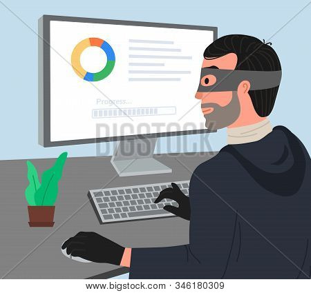 Hacker Attack Vector Illustartion. Hacker Working On A Code. Hacker Writes Viruses And Hacks A Compu