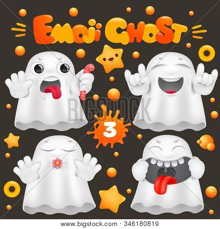 Cute Ghost Cartoon Emoji 3d Character In Various Emotions Collection. Vector Set