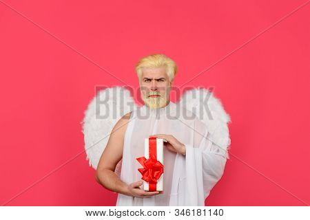 Valentines Day Angel. Cupid. Serious Man In Angel Costume. February 14. Cupid With Gift. Love Concep