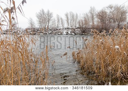 Winter Nature. Winter Is Abnormal, Water Flows In The River And Does Not Freeze. There Was Very Litt