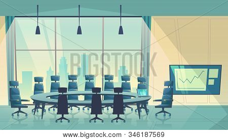 Conference Hall For Meeting, Board Of Directors. Business Boardroom, Working Process. Room For Share