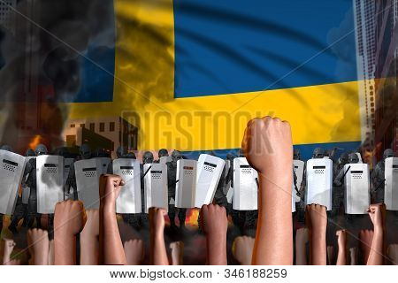 Revolt Fighting Concept - Protest In Sweden On Flag Background, Police Guards Stand Against The Prot