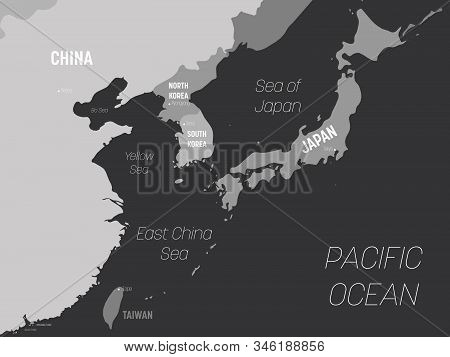 East Asia Map - Grey Colored On Dark Background. High Detailed Political Map Of Eastern Region With