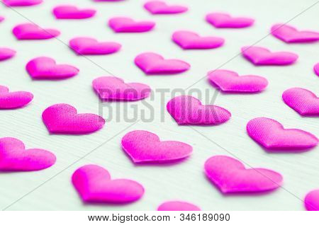 St Valentines Day Background. Pink Hearts On The White Background, Space For Text, St Valentines Day