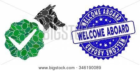 Mosaic For Dogs Only Icon And Rubber Stamp Seal With Welcome Aboard Text. Mosaic Vector Is Formed Wi