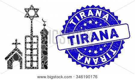 Mosaic Jerusalem City Icon And Rubber Stamp Seal With Tirana Text. Mosaic Vector Is Formed With Jeru
