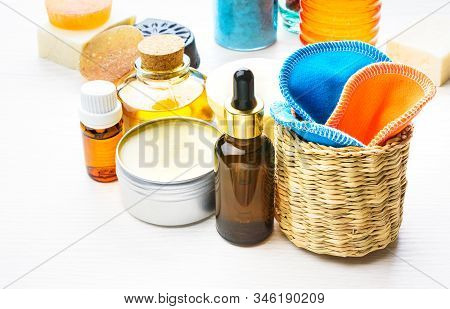 Body Care Products In Recyling And Reusing Package. Zero Waste Concept