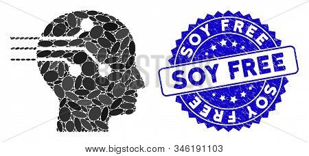 Mosaic Brain Interface Icon And Grunge Stamp Seal With Soy Free Caption. Mosaic Vector Is Created Wi