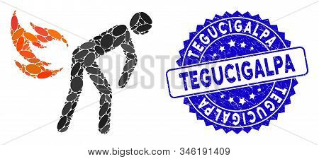 Mosaic Fire Farting Icon And Rubber Stamp Watermark With Tegucigalpa Text. Mosaic Vector Is Formed W